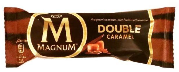 Algida, Magnum Double Caramel, lody waniliowe z sosem karmelowym z polewą kakaową i mleczną czekoladą, lód na patyku, copyright Olga Kublik