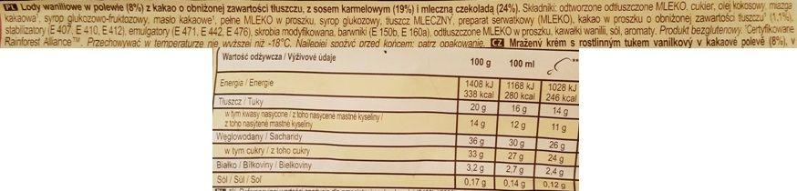 Algida, Magnum Double Caramel, lody waniliowe z sosem karmelowym z polewą kakaową i mleczną czekoladą, lód na patyku, skład i wartości odżywcze, copyright Olga Kublik