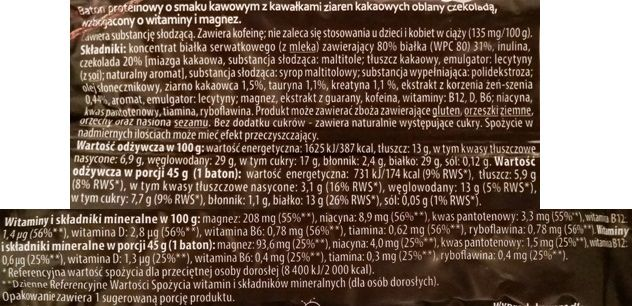 Bakalland, Vitanella Baton Protein Kakao 29% białka, baton białkowy o smaku kawowym z ziarnami kakao, zdrowe słodycze z Biedronki, skład i wartości odżywcze, copyright Olga Kublik