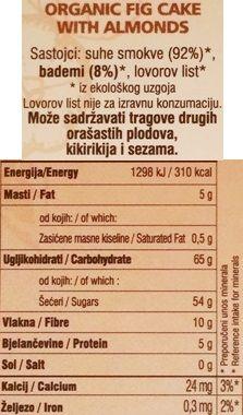 Dida Boza, Smokvenjak Organic Fig Cake with Almonds, zdrowy organiczny torcik figowy z migdałami, skład i wartości odżywcze, copyright Olga Kublik