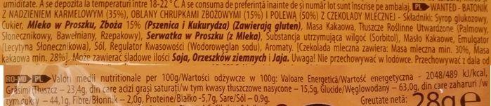 ETi, Wanted pops caramel, baton z chrupiącymi chrupkami zbożowymi, gęstym karmelem i słodką mleczną czekoladą, skład i wartości odżywcze, copyright Olga Kublik