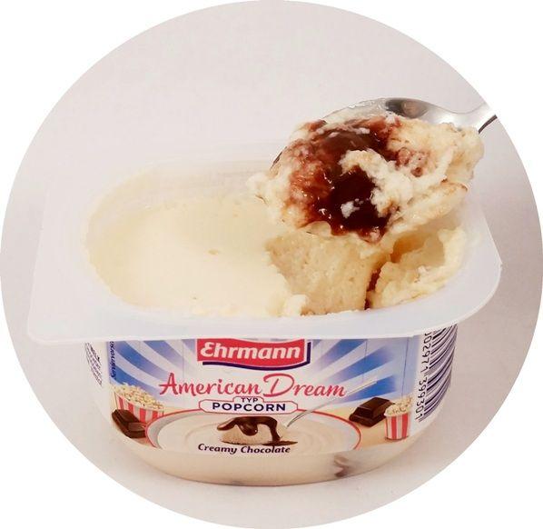 Ehrmann, AmericanDream Typ Popcorn Creamy Chocolate, lekki deser mleczny w konsystencji aero z sosem czekoladowym, jogurt z Niemiec, DessertTraum, copyright Olga Kublik