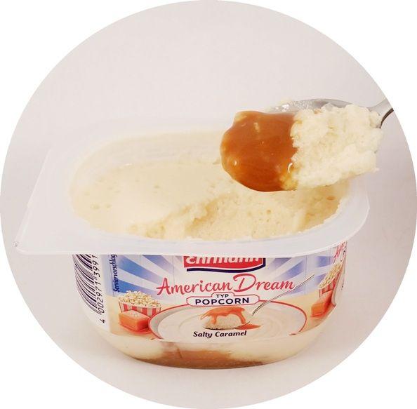 Ehrmann, AmericanDream Typ Popcorn Salty Caramel, lekki jogurt piankowy z sosem o smaku słonego karmelu, deser mleczny z Niemiec, DessertTraum, copyright Olga Kublik