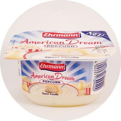 Ehrmann, AmericanDream Typ Popcorn Sweet Vanilla, DessertTraum, lekki jogurt piankowy z sosem waniliowym, deser mleczny z Niemiec, copyright Olga Kublik
