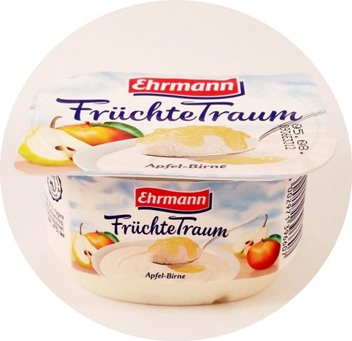 Ehrmann, FruchteTraum Apfel-Birne, deser mleczny aero z wsadem owocowym, piankowy jogurt z jabłkiem i gruszką, copyright Olga Kublik