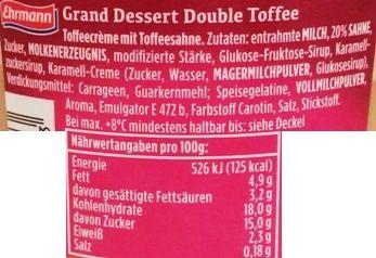 Ehrmann, Grand Dessert Double Toffee, gęsty pudding o smaku toffi z bitą śmietaną toffi, skład i wartości odżywcze, copyright Olga Kublik