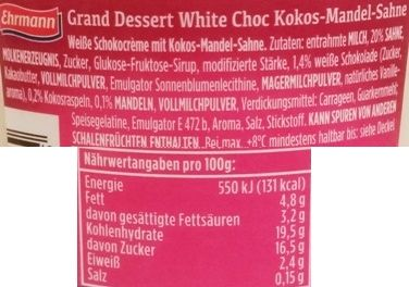 Ehrmann, Grand Dessert White Choc Kokos-Mandel, gęsty pudding o smaku białej czekolady z bitą śmietaną o smaku kokosa i migdałów, czyli Raffaello, skład i wartości odżywcze, copyright Olga Kublik