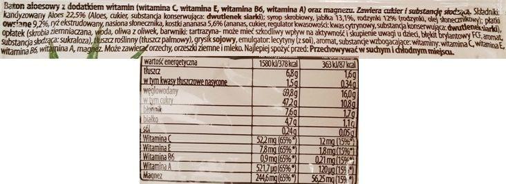 Oshee, Vitamin Aloe vera baton aloesowy z witaminami, aloesowy batonik z witaminami, skład i wartości odżywcze, copyright Olga Kublik