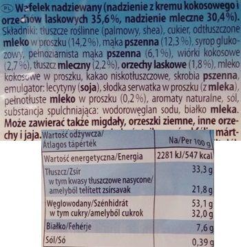 Storck, Knoppers kruchy wafelek z kremem mlecznym i kokosowym, czekoladą i orzechami, skład i wartości odżywcze, copyright Olga Kublik