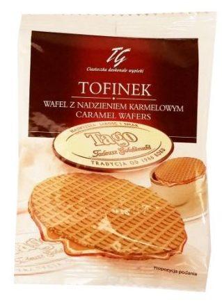 Tago, Tofinek wafel przekładany karmelem, kruche korzenne ciastka z nadzieniem toffi, stroopwafels, copyright Olga Kublik