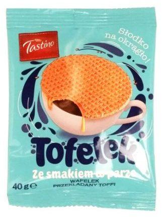 Tastino, Tofelek wafelek przekładany toffi, ciastka korzenne z nadzieniem karmelowym, stroopwafels, copyright Olga Kublik