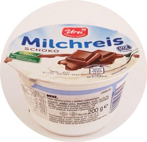 Ursi, Milchreis, ryż na mleku z sosem, deser ryżowy, Aldi, copyright Olga Kublik