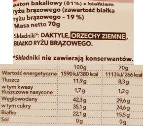 Zmiany Zmiany, białkowy baton wegański bez glutenu Sztanga, batonik o smaku masła orzechowego, skład i wartości odżywcze, copyright Olga Kublik