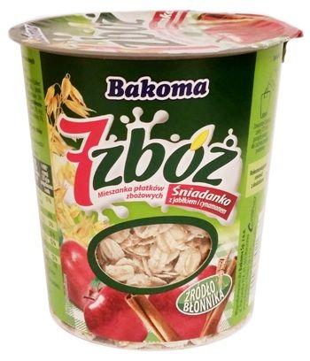 Bakoma, 7 zbóż Śniadanko musli z jabłkiem i cynamonem, copyright Olga Kublik