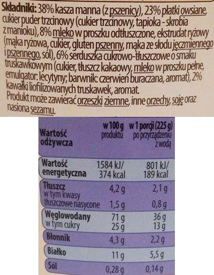 Bruggen, Kaszka manna z płatkami owsianymi z mlekiem w proszku i truskawkami z Auchan, skład i wartości odżywcze, copyright Olga Kublik