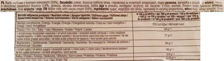 Dr Gerard, Rolls Rolls Cocoa, kruche rurki z kremem kakaowym, skład i wartości odżywcze, copyright Olga Kublik