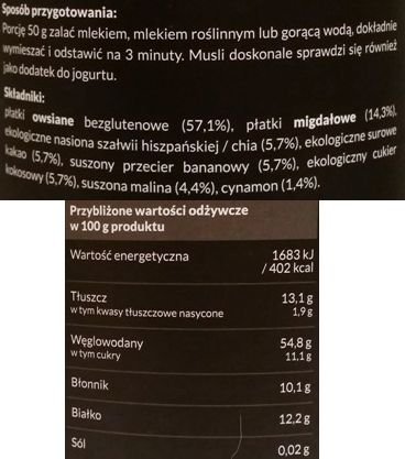 Foods by Ann, Musli Bezglutenowe kakao banan malina, wegańska owsianka czekoladowa bez glutenu, skład i wartości odżywcze, copyright Olga Kublik