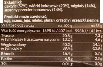 Foods by Ann, Pocket Energy Bar Kokos Banan, wegański baton surowy od Anny Lewandowskiej, zdrowe słodycze bez glutenu i cukru, skład i wartości odżywcze, copyright Olga Kublik