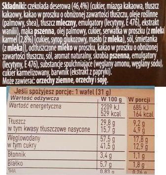 Nestle, Princessa Salty Caramel Planeta Singli Edition, wafel z kremem o smaku słonego karmelu z czekoladą deserową, słodki batonik, skład i wartości odżywcze, copyright Olga Kublik