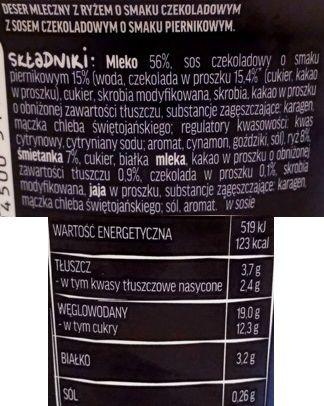 Zott, Belriso Piernik o smaku piernika, ryż na mleku o smaku czekoladowym z sosem piernikowym, skład i wartości odżywcze, copyright Olga Kublik