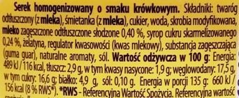 Danone, Danio krówkowy smak, serek homogenizowany o smaku krówki, skład i wartości odżywcze, copyright Olga Kublik