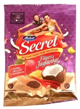 Melvit, Secret Fitness Jaglanka z babka płesznik i rabarbarem, zdrowy deser z płatkami jaglanymi, copyright Olga Kublik