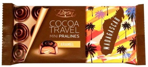 Millano-Baron, Cocoa Travel Madagascar Mini Pralines Caramel, czekoladki z karmelem, ciemna czekolada, copyright Olga Kublik