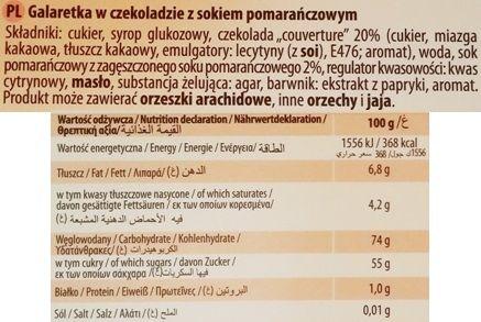 Odra, Galaretka Familijna w czekoladzie z sokiem pomarańczowym, skład i wartości odżywcze, copyright Olga Kublik