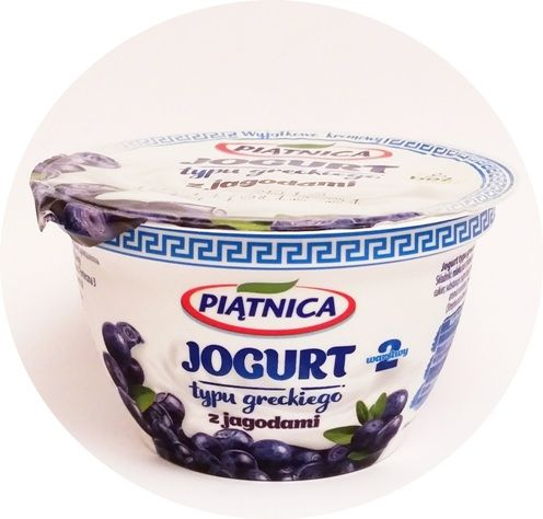Piątnica, Jogurt typu greckiego 2,4 tłuszczu 2 warstwy z jagodami, copyright Olga Kublik