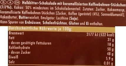 Ritter Sport, Kaffeesplitter, ciemna czekolada z kawą, skład i wartości odżywcze, copyright Olga Kublik