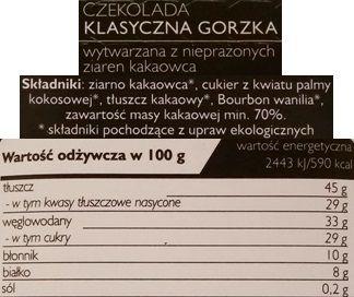 SuroVital, Cocoa czekolada klasyczna gorzka, surowa czekolada, raw food, skład i wartości odżywcze, copyright Olga Kublik
