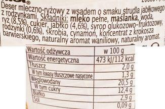 Ursi, Milchreis a la Apfelstrudel, ryż na mleku o smaku strucli jabłkowej z rodzynkami i cynamonem, deser z Aldiego, skład i wartości odżywcze, copyright Olga Kublik