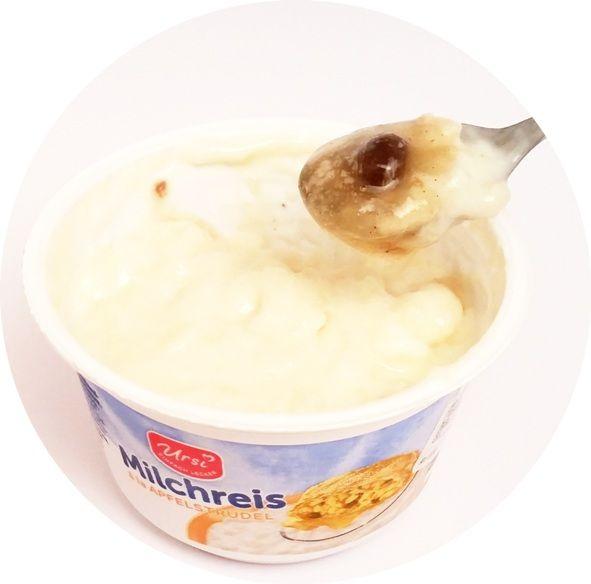 Ursi, Milchreis a la Apfelstrudel, ryż na mleku o smaku strucli jabłkowej z rodzynkami i cynamonem, deser z Aldiego, copyright Olga Kublik