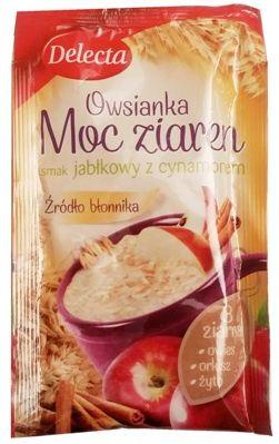 Delecta, Owsianka Moc ziaren smak jabłkowy z cynamonem, szybki deser owsianka instant, copyright Olga Kublik