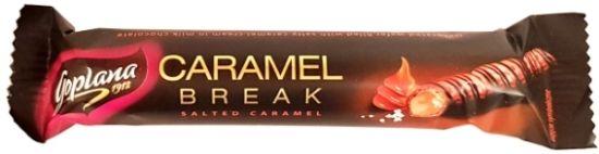 Goplana, Caramel Break Salted Caramel, baton słony karmel w mlecznej czekoladzie z polewą z ciemnej czekolady, słodycze Colian, kruchy wafel z kremem karmelowym i solą, copyright Olga Kublik