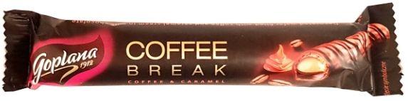 Goplana, Coffee Break Coffee Caramel, baton z kremem kawowo-karmelowym w mlecznej czekoladzie, słodycze Colian, kruchy wafel w polewie, copyright Olga Kublik