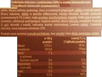 Millano-Baron, Luximo Premium Czekolada mleczna z nadzieniem o smaku śmietankowym i kawałkami ciasteczek cynamonowych, czekolada z Biedronki, skład i wartości odżywcze, copyright Olga Kublik
