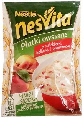 Nestle, NesVita Płatki owsiane z mlekiem jabłkami i cynamonem, owsianka instant, szybki deser owsiany, copyright Olga Kublik