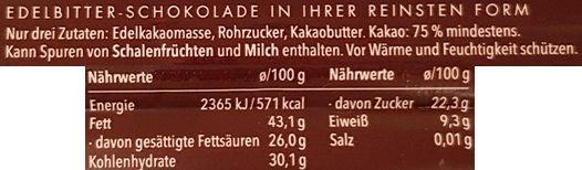 Rausch Plantagen, Costa Rica Edelkakao-Schokolade 75 cocoa, ciemna czekolada gorzka z Niemiec, skład i wartości odżywcze, copyright Olga Kublik