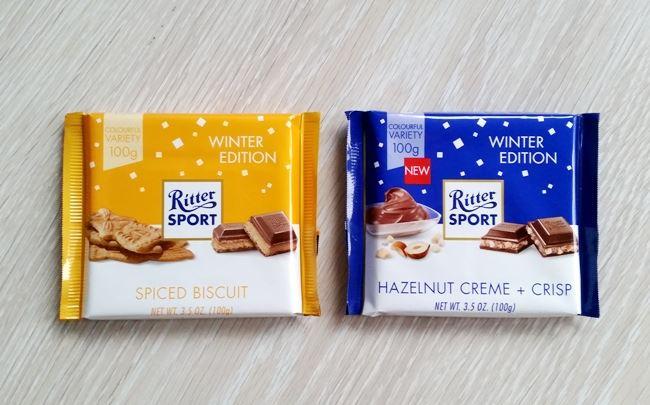 Słodycze świąteczne na mikołajki 2018 Ritter Sport Spiced Biscuit i Hazelnut Creme + Crisp