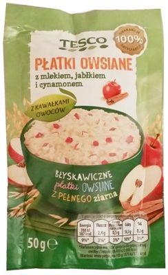 Tesco, Płatki owsiane z mlekiem, jabłkiem i cynamonem, błyskawiczna owsianka instant, copyright Olga Kublik