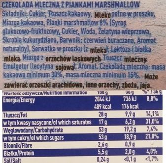 Wedel, mleczna czekolada z piankami Marshmallow, skład i wartości odżywcze, copyright Olga Kublik
