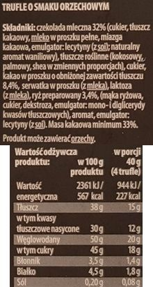 Confiserie Vandenbulcke, Biedronka Belgijskie Trufle z chrupiącym nadzieniem o smaku orzechowym, skład i wartości odżywcze, copyright Olga Kublik