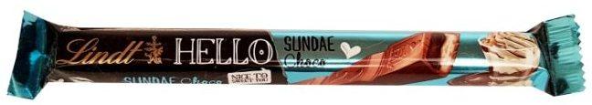 Lindt, Hello Sundae Choco, baton czekoladowy z nadzieniem o smaku deseru lodowego z czekoladą, bitą śmietaną i posypką, słodycze z zagranicy, copyright Olga Kublik