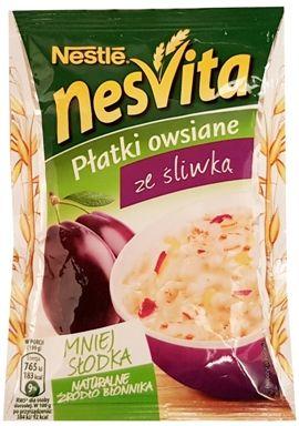 Nestle, NesVita Płatki owsiane ze śliwka, owsianka z suszonymi śliwkami, copyright Olga Kublik