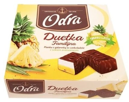 Odra, Duetka Familijna Pianka z galaretka w czekoladzie z sokiem ananasowym, bombonierka Odra ptasie mleczko, copyright Olga Kublik