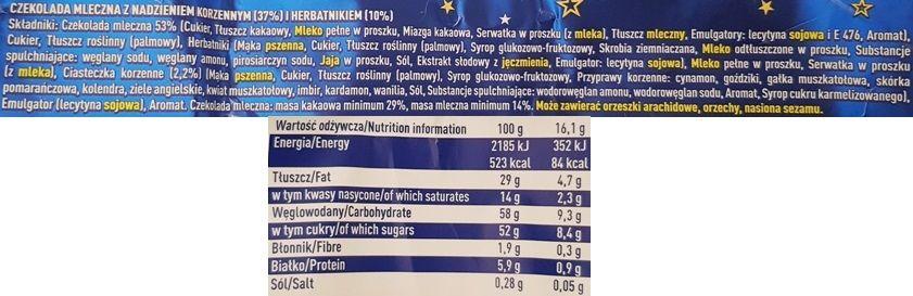 Wedel, Korzenny Cookie Chrupiące ciastko Czekolada mleczna, wedlowska czekolada z nadzieniem o smaku przypraw korzennych, skład i wartości odżywcze, copyright Olga Kublik