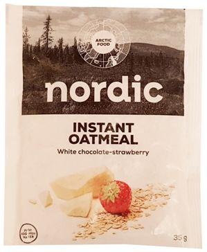 Arctic Food, Nordic Instant Oatmeal White chocolate-strawberry, owsianka czekoladowa z białą czekoladową i truskawkami, copyright Olga Kublik