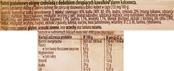 Bakalland, baton proteinowy BA! Protein 30% białka kawa, ziarna kakao, czekolada, skład i wartości odżywcze, copyright Olga Kublik