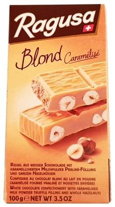 Camille Bloch, Ragusa Blond Caramelise, biała czekolada karmelowa z nugatem i orzechami laskowymi, szwajcarska czekolada, copyright Olga Kublik